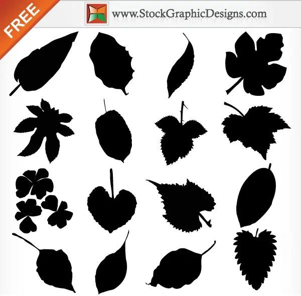 Leaf Silhouettes Free Vector Illustration