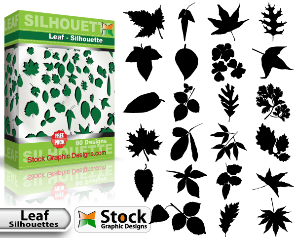 Leaf Silhouettes Free vector & Brush Pack