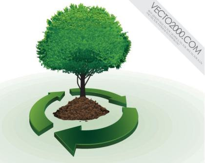 Vector Recycling Symbol with Tree
