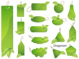 Green Leaf LabelsVector