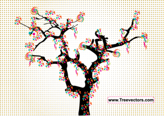 Colorful Vector Tree with Halftone Dotted Background