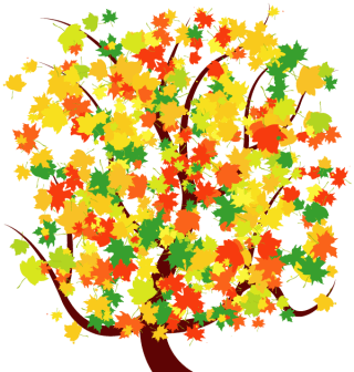 Autumn Tree with Colorful Falling Leaves Free Vector Image