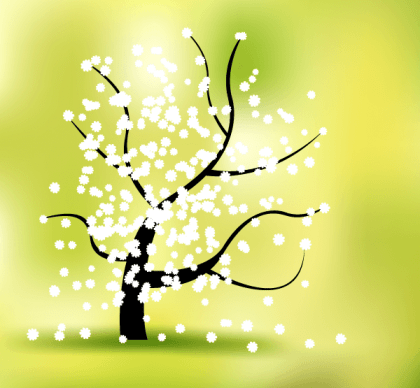 Spring Flower Tree Landscape Vector Graphics