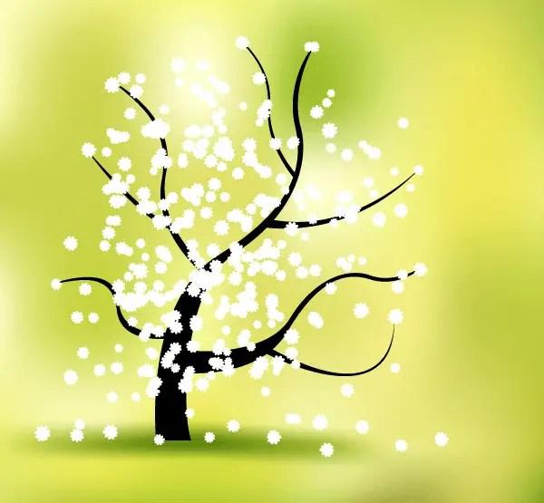Spring Flower Tree Landscape Vector Graphics