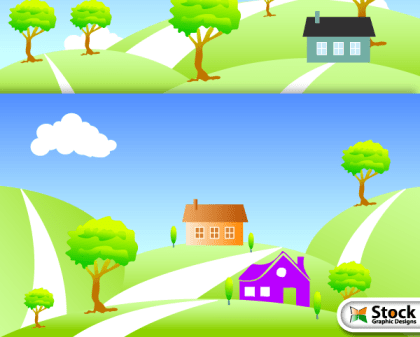 Free Vector Nature Landscape with House
