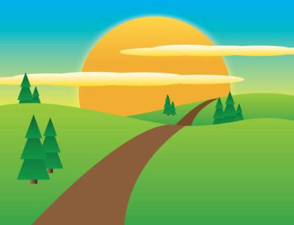 Sunny Meadow landscape Vector Illustration