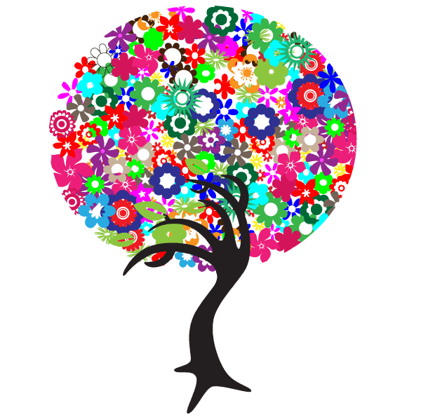 Free Colorful Flowers Tree Vector