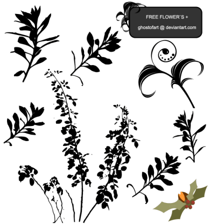 Flower Plant Silhouettes Free Vector