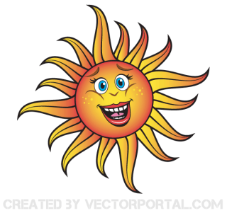 Smiling Cartoon Sun Vector Free