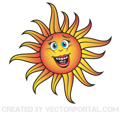 Smiling Cartoon Sun Vector Free