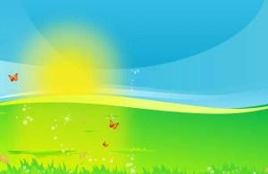 Vector Landscape with Shiny Sun
