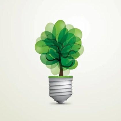 Green Light Bulb Vector Art