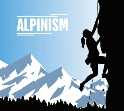 Alpinism Woman Background Image