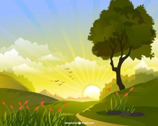Spring Landscape with Flying Birds, Rising Sun and Tree Vector Image