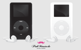 Free Apple iPod Black and White Vector