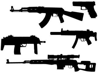 Free Vector Machine Gun Silhouettes