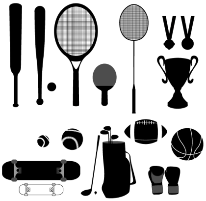 Vector Sport Stuffs – Baseball, Basketball, Cup, Golf, Medal, Racket, Skateboard