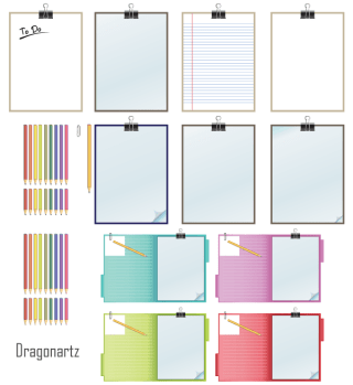 Clipboard and Pencils Vector Free