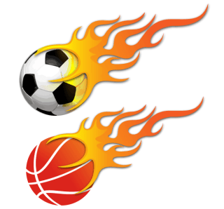 Vector Ball on Fire – Soccer Ball and Basketball