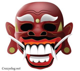 Traditional Balinese Mask Free Vector