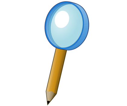 Magnifying Glass with Pencil Vector Art
