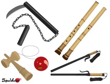 Free Japanese Vector: Truncheon, Bilboquet, Bamboo Flute