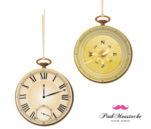 Free Vintage Vector Pocket Watch and Compass