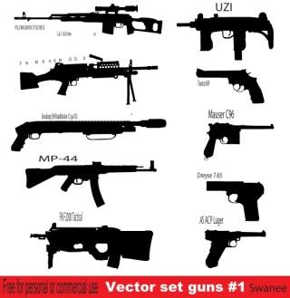 Free Gun Silhouettes vector Set