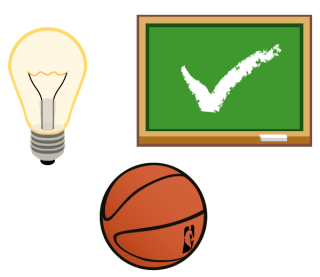 Vector Light Bulb, Ball, Chalkboard