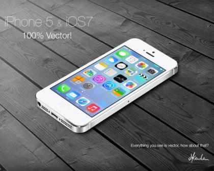 iPhone5 and iOS7 Vector Illustration