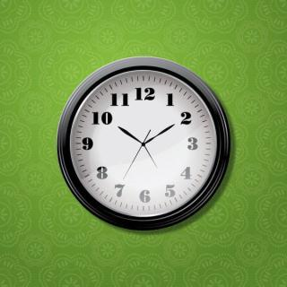 Wall Clock on Green Pattern Background Vector