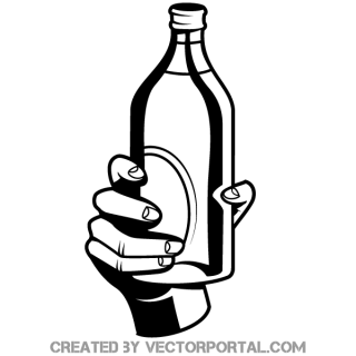Hand Holding a Bottle Vector Image