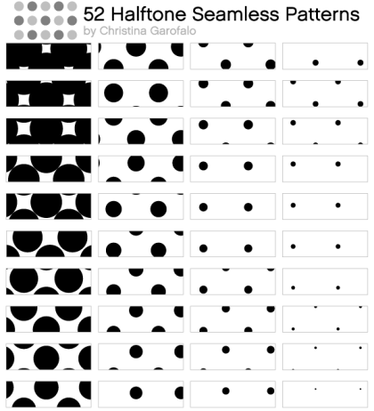 52 Halftone Seamless Pattern Vector