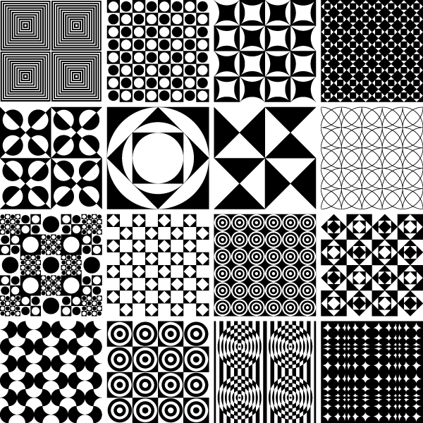 Monochrome Geometric Seamless Patterns Vector Graphics