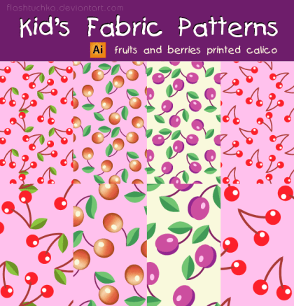 Kid's Fabric Seamless Patterns – Fruits and Berries