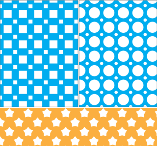 Square, Circle and Stars Vector Seamless Pattern