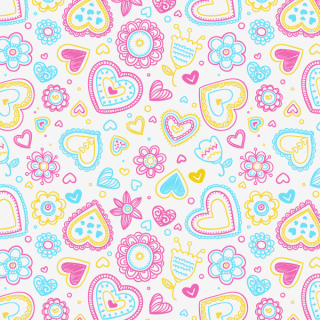 Valentine's Day Hearts and Flowers Pattern Vector