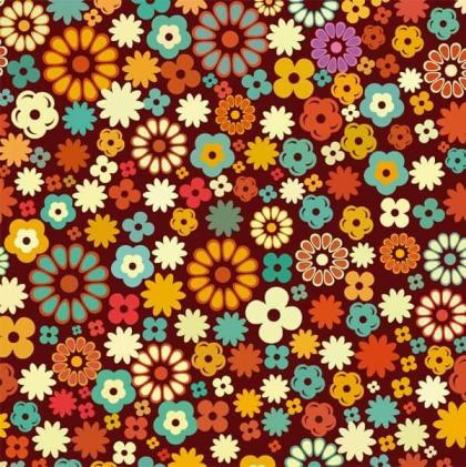 Colorful Flowers Seamless Damask Pattern Vector