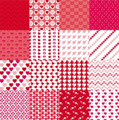 Valentines Day Red Heart Seamless Pattern Vector Set
