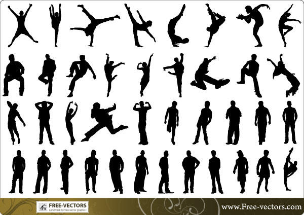 124-Free People Silhouettes Vector-5