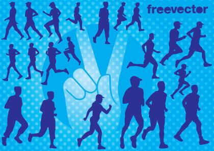 Runners Silhouette Vector Free