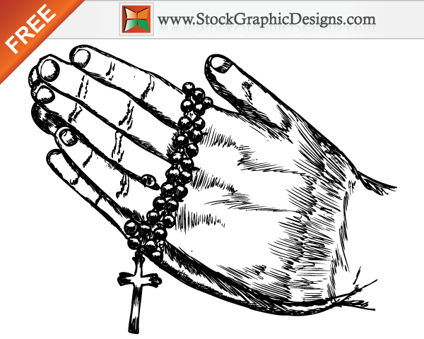 Hand Drawn Praying Hands Free Vector Illustration