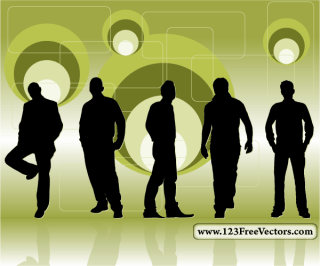 Retro Background with Men Silhouettes Vector