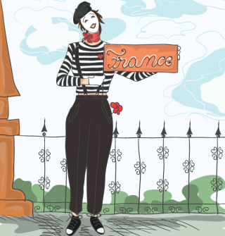 Funny Doodles with Mime Vector Background