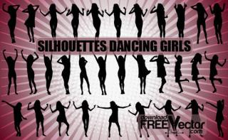 Free Vector Dancing Girls Silhouettes