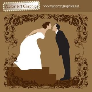 Bride and Groom Wedding Vector Art Graphic