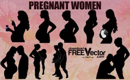 Vector Pregnant Woman Silhouettes