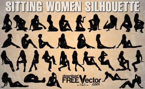 Woman Sitting Silhouette Vector Free
