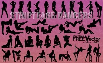 Striptease Dancers Vector Illustration