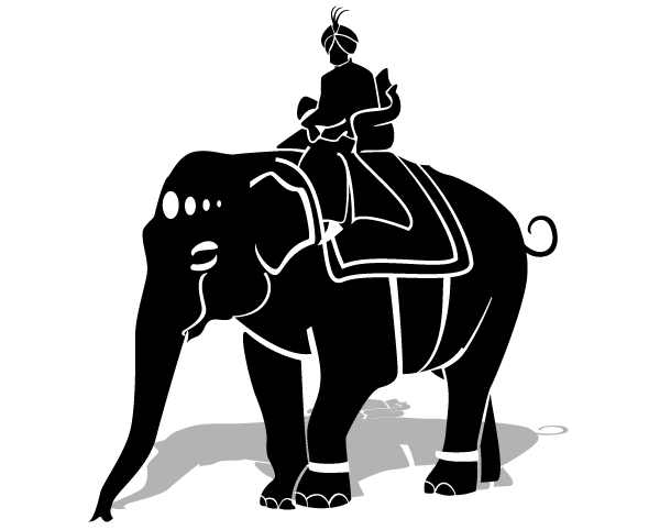 Maharaja Riding an Elephant Vector Clipart